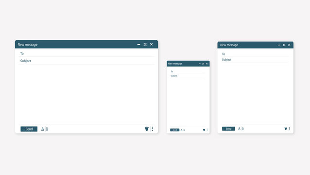 Open new email window. Design a simple blank web page. Template Send new email window on your PC, tablet and mobile phone.