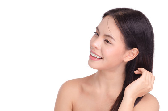 Asian young beautiful woman Beauty portrait , natural make-up, beauty face, isolated over white background.