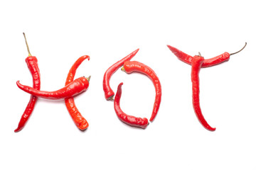 Canvas Prints Hot chili peppers red hot chili peppers in shape of word HOT isolated on white background, photo