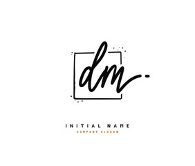 D M DM Beauty vector initial logo, handwriting logo of initial signature, wedding, fashion, jewerly, boutique, floral and botanical with creative template for any company or business.
