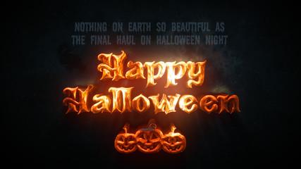 3d Gold Orange Happy Halloween Text And Quote Wish With Halloween Pumpkin Dark Background