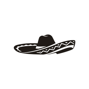 Simple Black Mexican Hat Sombrero silhouette logo vector