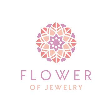 Artistic Luxury beautiful jewelry logo design with flower ornament