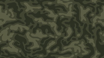 Camouflage seamless pattern. Khaki texture, vector illustration. Dark green camo print background. Abstract military style backdrop