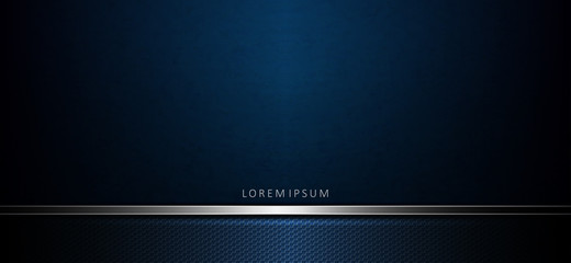 Abstract elegant dark blue background with a texture frame and a strip of metallic hue