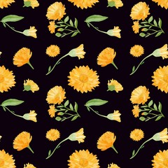 seamless floral pattern with yellow flowers,calendula flowers