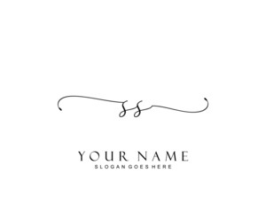 Initial SS beauty monogram and elegant logo design, handwriting logo of initial signature, wedding, fashion, floral and botanical with creative template