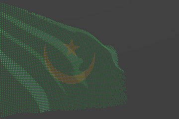 cute memorial day flag 3d illustration. - modern image of Mauritania isolated flag made of glowing dots wave on grey background