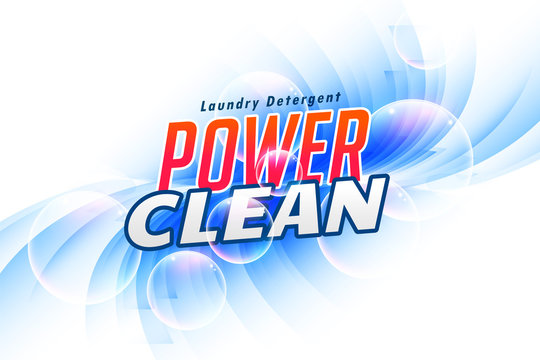 power clean laundry detergent packaging concept banner design