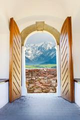Old wooden door open wide