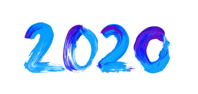 Blue and purple watercolor sign 2020 on white background. Hand drawn paint stains  New Year logo for your design.