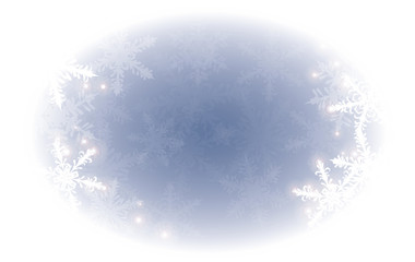 Isolated on white vector winter oblong backdrop with white snowflakes on blue background
