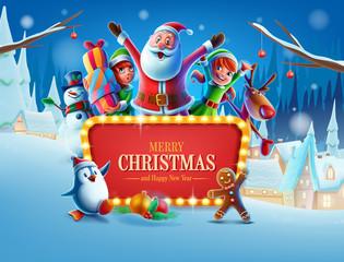 christmas card with santa and reindeer