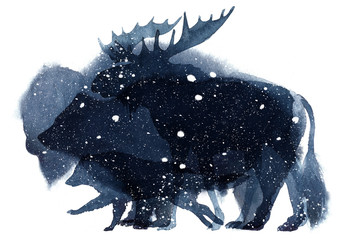 Watercolor illustration of bear, bison, moose and wolf silhouettes in the snow on a white background