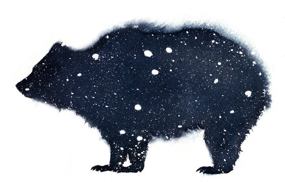 Watercolor illustration of a bear silhouette on a white background