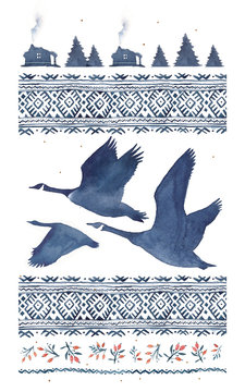 Watercolor illustration in blue tones with a silhouette of a flock of geese and a northern pattern.