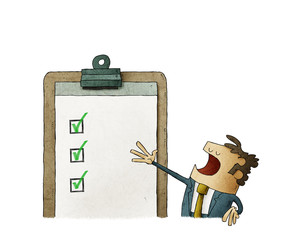 Business man next to a clipboard with checklist. Successful completion of business tasks. isolated
