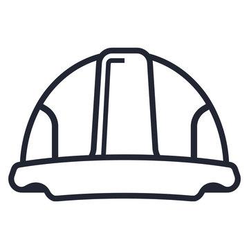white helmet icon from the black line. flat vector illustration.