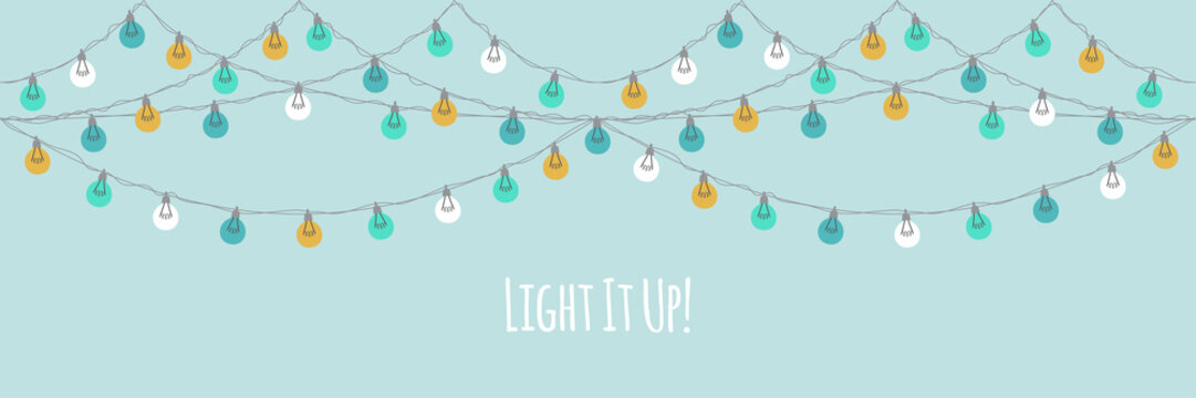 Cute vintage Christmas design with hand drawn light bulb garlands backround