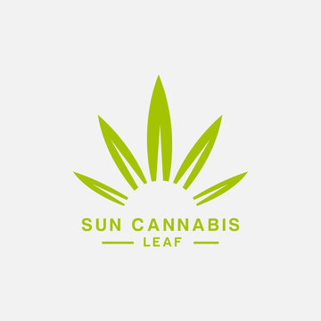 sun cannabis leaf vector,hemp marijuana logo design