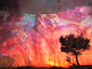 Wall Murals Coral Watercolor landscape with tree over the red sunset. abstract digital art