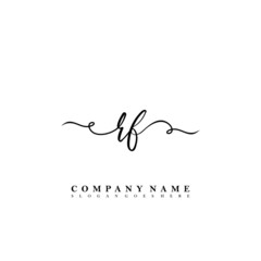 Initial letter RF beauty vector handwriting concept logo