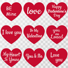 Set Of Happy Valentine's Day Lettering on hearts