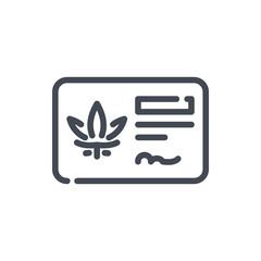 Cannabis ID membership line icon. Marijuana purchase license vector outline sign.