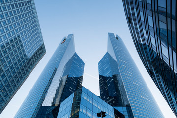 Paris, France - Sept 2, 2019:  skyscrapers in financial district of La Defense Paris France. Tours Société Générale twin towers are 167 m high