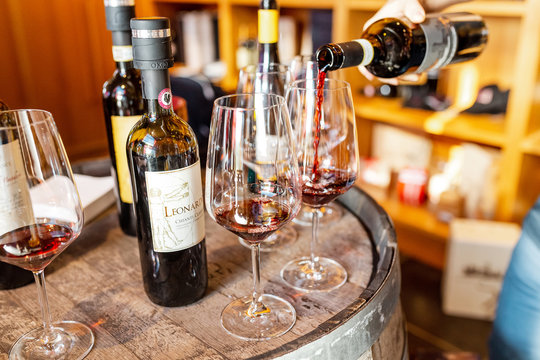 18 OCTOBER 2018, TUSCANY, ITALY: Famous great tuscany Wines for sale in agricultural luxury winehouse shop