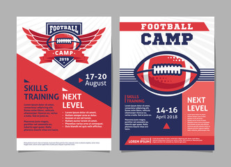 American football camp posters, flyer with american football ball - template vector design
