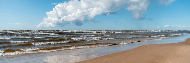Wall Mural - Beautiful seascape, Baltic Sea coast in Latvia, white sand and clouds