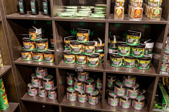 23 OCTOBER 2018, VENICE, ITALY: Cannabis store selling marijuana in shop for tourists