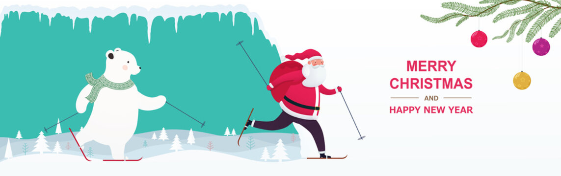 Santa Claus with a gift bag and a bear skiing in the snowy hills with Christmas trees and saggy icicles.