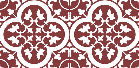 Gorgeous seamless pattern from dark red and white Moroccan, Portuguese tiles, Azulejo, ornaments. Can be used for wallpaper, pattern fills, web page background,surface textures.