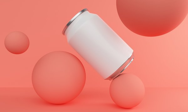 Mockup can for a drink with a blank label on a coral background with balloons. 3d rendering