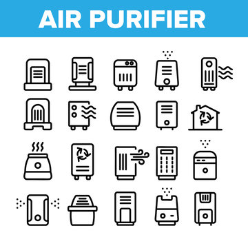 Air Purifier Devices Collection Icons Set Vector Thin Line. Electronic Appliance Air Purifier And Ionizer Concept Linear Pictograms. Ventilation Technology Monochrome Contour Illustrations