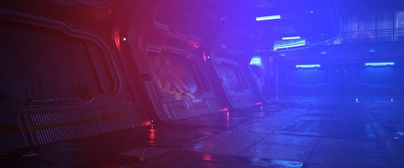 Fotomurales - Cyberpunk city. Photorealistic 3d illustration of the neon night in a futuristic city. Empty street with bright neon lights. Beautiful night urban landscape.