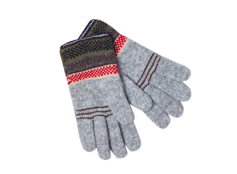 Knitted gloves with ornament isolated on white backgrond