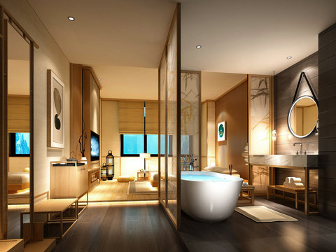 3d render of luxury hotel suite with bath tub