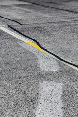road marking and signs on an old airstrip