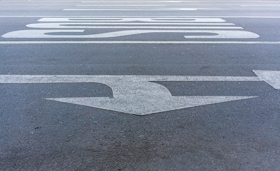 german traffic signs on the street, arrows and bus