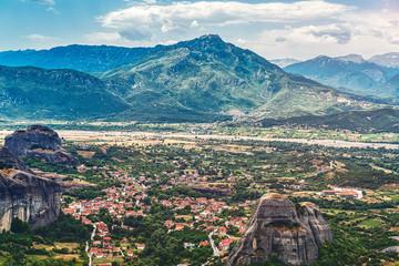the village Kastraki seen from the Great Meteora Monastry, Greec