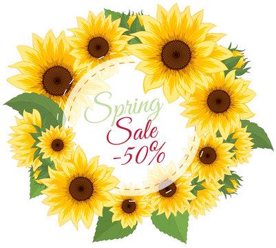 Sunflower invitation. Yellow flowers card design. Vector illustration. Sunflower frame