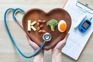 Keto food for ketogenic diet, healthy nutritional food eating lifestyle for good heart health with high protein, fat, low-carb to prevent heart disease and diabetes illness control
