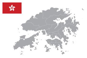 Hong Kong map. Hong Kong flag. flat icon symbol vector illustration Fotomurales