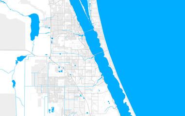 Rich detailed vector map of Melbourne, Florida, USA