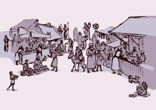 Old eastern market. Vector drawing