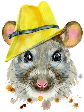 Watercolor portrait of rat in yellow hat with splashes