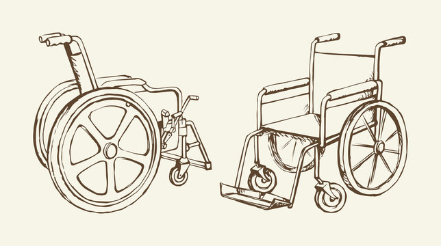 Wheelchair. Vector drawing